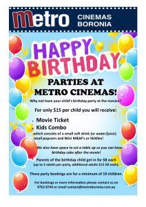 Metro Cinemas Boronia Birthday Party Info